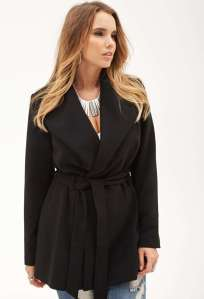 belted shawl collar jacket forever21