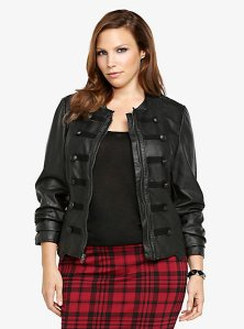 Faux leather military jacket torrid