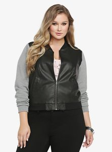 Knit sleeve leather bomber jacket torrid
