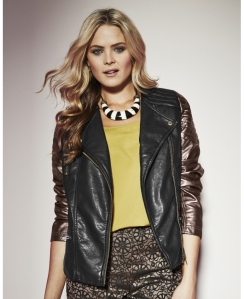 metallic Sleeve Biker Jacket